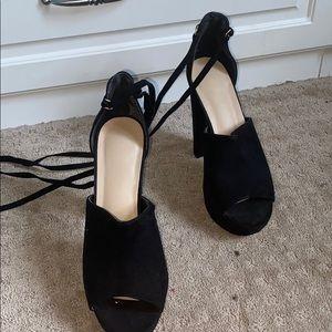 Black platform lace up heels